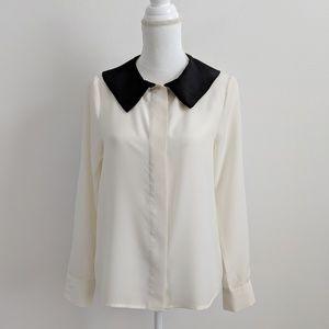 ASOS Tops - ASOS Black Collar Ivory Long Sleeve Top